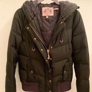 Juicy Couture Chocolate Brown Puffer Bomber Jacket